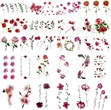 Everjoy Red and Pink Flower Temporary Tattoos - 24 Pcs, Rose, Blossom, Leaf, Words for Women, Men, Kids, Boys and Girls