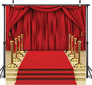 Dudaacvt Backdrop 8x8ft Red Curtain Background Hollywood Red Carpet Stage Backdrop Wedding Party Events Photography Props Seamless Photo Studio Props D146