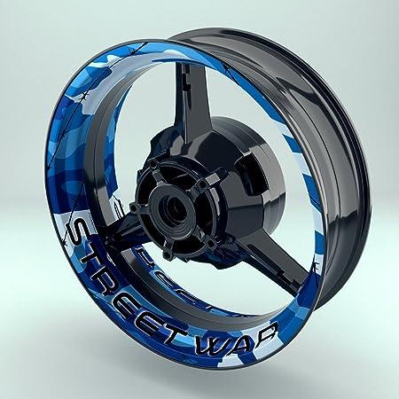 Felgenrandaufkleber Motorrad 4er Komplett Set 17 Zoll Felgenaufkleber Camouflage Blau Design 3 Glänzend Auto