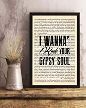 GEHUA06 Into The Mystic Song Lyrics Portrait Poster Print Wall Art, Art Prints, Decor 16x12in Framed