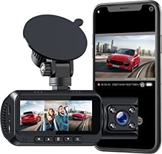 $159 » Sponsored Ad - 3 Channel Dash Cam with WiFi 1440P+1080P+1080P Car Camera 4K+1080P Front and Rear/Inside Dual Dash Camera f...