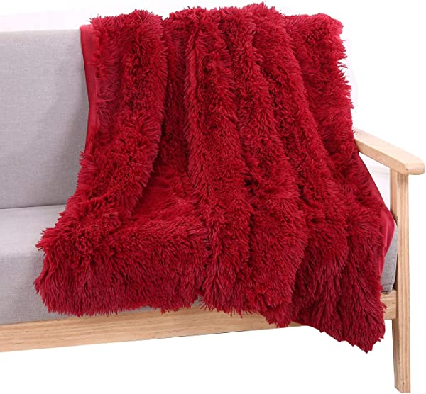 YOU SA Super Soft Long Shaggy Fuzzy Fur Faux Fur Warm Elegant Cozy With Fluffy Sherpa Throw Blanket 51 63 Red