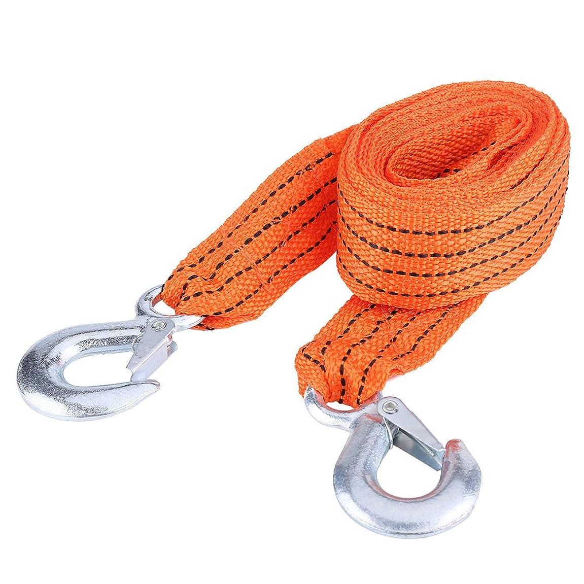 思い出すウォルターカニンガム反応するQiilu 牽引ロープ 牽引ケーブルフック  緊急ロープ 3トン フック 付き  4m