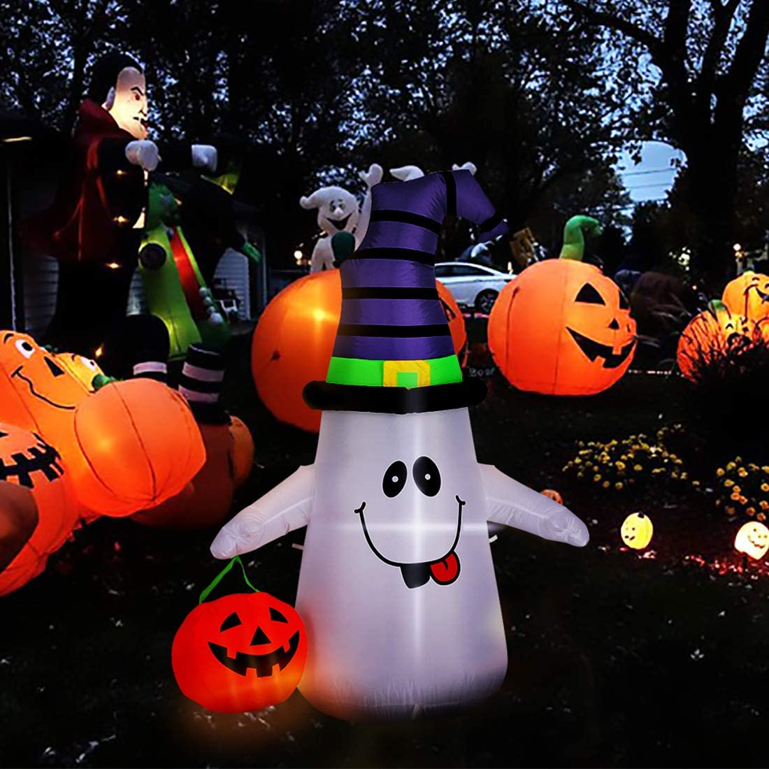 VIVOHOME 5ft Height Halloween Inflatable Over item handling Outlet ☆ Free Shipping ☆ White LED Lighted Ghost