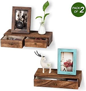 Emfogo Floating Shelf with Drawer Rustic Wood Wall Shelves for Storage and Display Multiuse as A Nightstand or Bedside Shelf Set of 2