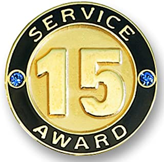 TCDesignerProducts 15 Year Service Gold Award Pin with Blue Stones