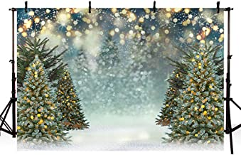 MEHOFOTO 7x5ft Glitter Winter Christmas Tree Snowflake Green Newborn Photography Background Gold and Silver Bokeh Backdrops Xmas Birthday Party Photo Banner Props