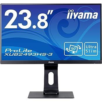 マウスコンピューター iiyama モニター ディスプレイ XUB2493HS-B3(23.8型/フルHD/昇降/スウィーベル/広視野角/IPS/ノングレア/HDMI,D-Sub,DP) マーベルブラック