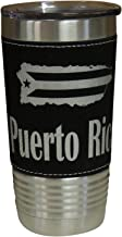Puerto Rico Leather Wrapped Vacuum Insulated Tumbler 20 Oz Stainless-Steel Vacuum Mug For Travelling Sports Outdoor & Gym (Black)