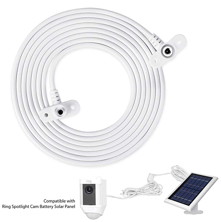 foreaya Weatherproof DC 2.5M/8.2FT Extension Cable Compatible with Ring Spotlight Cam Battery Solar Panel - Flexible Positioning of Your Solar Panel for Maximum Sunlight Exposure