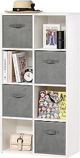 HOMCOM Estantería para Libros de 8 Cubos Librería Modular con 4 Cajones Extraíbles de Tela no Tejida para Oficina Estudio ...