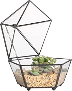 NCYP Small Glass Geometric Terrarium Closed Jewel-Boxed Shape Container Plant Succulent Planter Box Indoor Outdoor Flower Pot (No Plants)