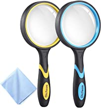 Dicfeos 2 Pack Magnifying Glass, 4X Handheld Reading Magnifier for Kids and Seniors, 3 Inch Non-Scratch Quality Glass Lens...