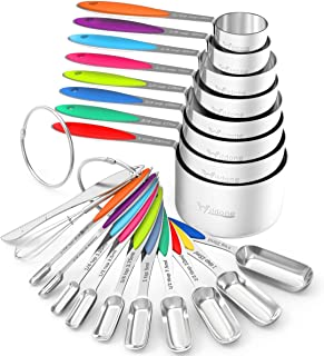 Measuring Cups and Spoons - Wildone Stainless Steel 20 Piece Stackable Set, Includes 8 Measuring Cups, 10 Measuring Spoon...