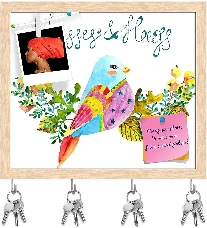 Artzfolio Bird & Flowers D2 Key Holder Hooks   Notice Pin Board   Natural Brown Frame 18.6 X 16Inch