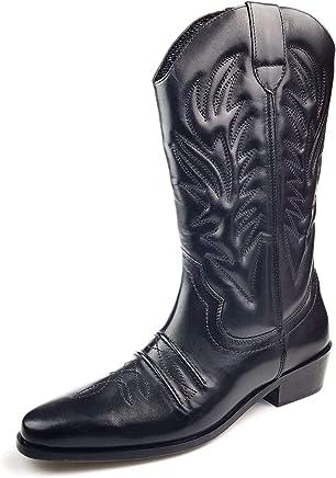 Gringos Kansas Mens Calf Length Leather Cowboy Boots Black UK 9