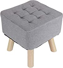 Fabric Small Square Stool, Linen Solid Wood Footstool for Living Room Bedroom Changing Shoes Modern Simple Solid Color Mul...