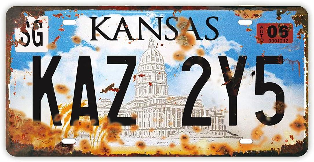 Retro Embossed License Plate   Supernatural   Metal Stamped Number Tag, Movie Prop Vanity Plate, 12x6 inch (Kansas - Kaz 2Y5)