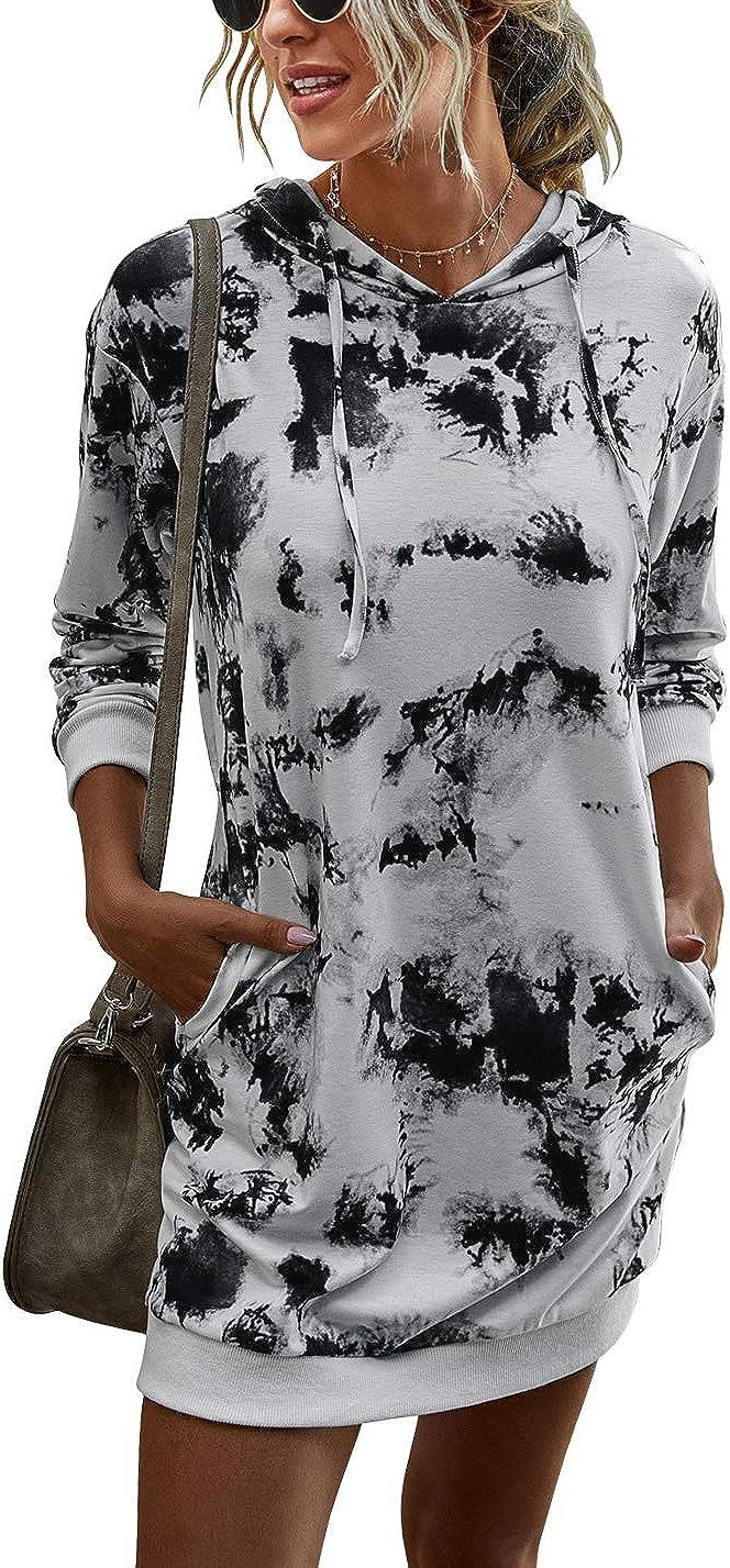 LOGENE Women's Tie Dye Printed Long Hoodie Sweatshirt Casual Long Sleeve Pullover Hoodie Dress with Pockets