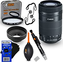 Canon EF-S 55-250mm F4-5.6 is STM Lens for Canon SLR Cameras (International Version) + 7pc Bundle Accessory Kit w/HeroFiber Ultra Gentle Cleaning Cloth