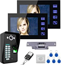 7 inch videodeurtelefoon, intercom, RFID-vingerafdrukwachtwoord Bedrade videodeurbel, 2 monitoren + nachtzichtbeveiligings...