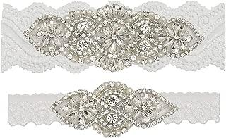 Yanstar Wedding Bridal Garter Set White Champagne Navy Lace For Bridal Accessories Rhinestone Garter Lace …