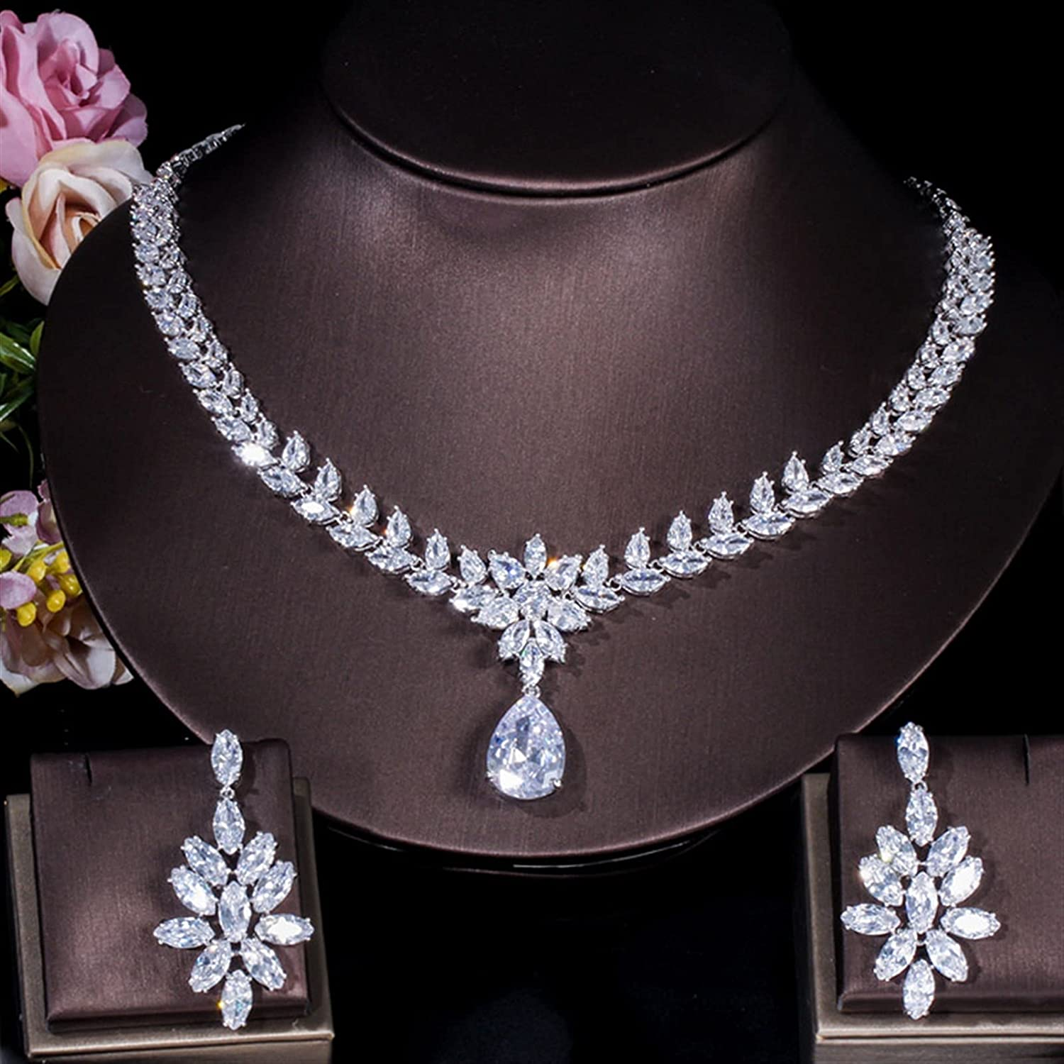 Some reservation SYXMSM Jewellery Set Cubic Zirconia Ranking TOP13 Drop Tear Crystal Big Neckla