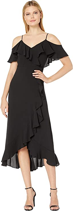 a91e3521e0b Black. 61. London Times. Ruffle Cold Shoulder Maxi