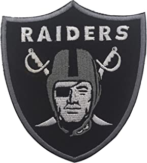 Oakland Raiders Football Team Logo Jacket T-Shirt Patch Embroidered Tactical Military Morale Hook and Loop Fasteners Backing Patches Badge Emblem Sign 3.54 x 3.15 inch