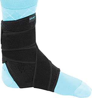 Vive Sprained Ankle Brace for Women, Men - Right or Left Compression Foot Immobilizer Support - Basketball, Volleyball Neoprene Stabilizer Wrap Protector - Tendonitis, Heel Spur, Running Feet Sprain