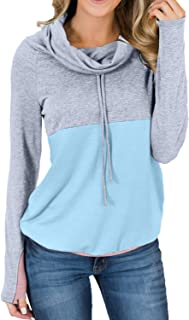 ROSKIKI Women Cowl Neck Casual Tunic Sweatshirts Drawstring Long Sleeve Color Block Patchwork Pullover Tops