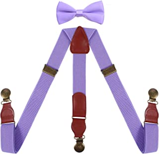 SUNNYTREE Men Kids Suspenders and Bowtie Adjustable with Brass Round Clips