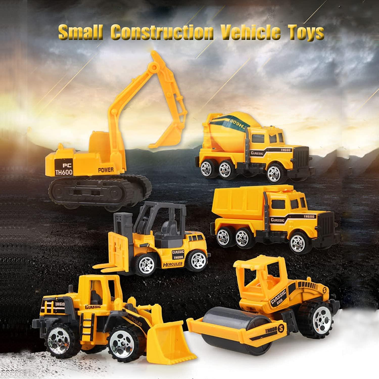 Mumoo Bear 6 PCs Die Cast Construction Vehicle Toys - Mini Engineering Alloy Model Set - Yellow