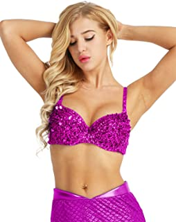 Women's Shiny Sequined Bra Top Glitter Crop Tops Rave Party Clubwear Belly Dance
