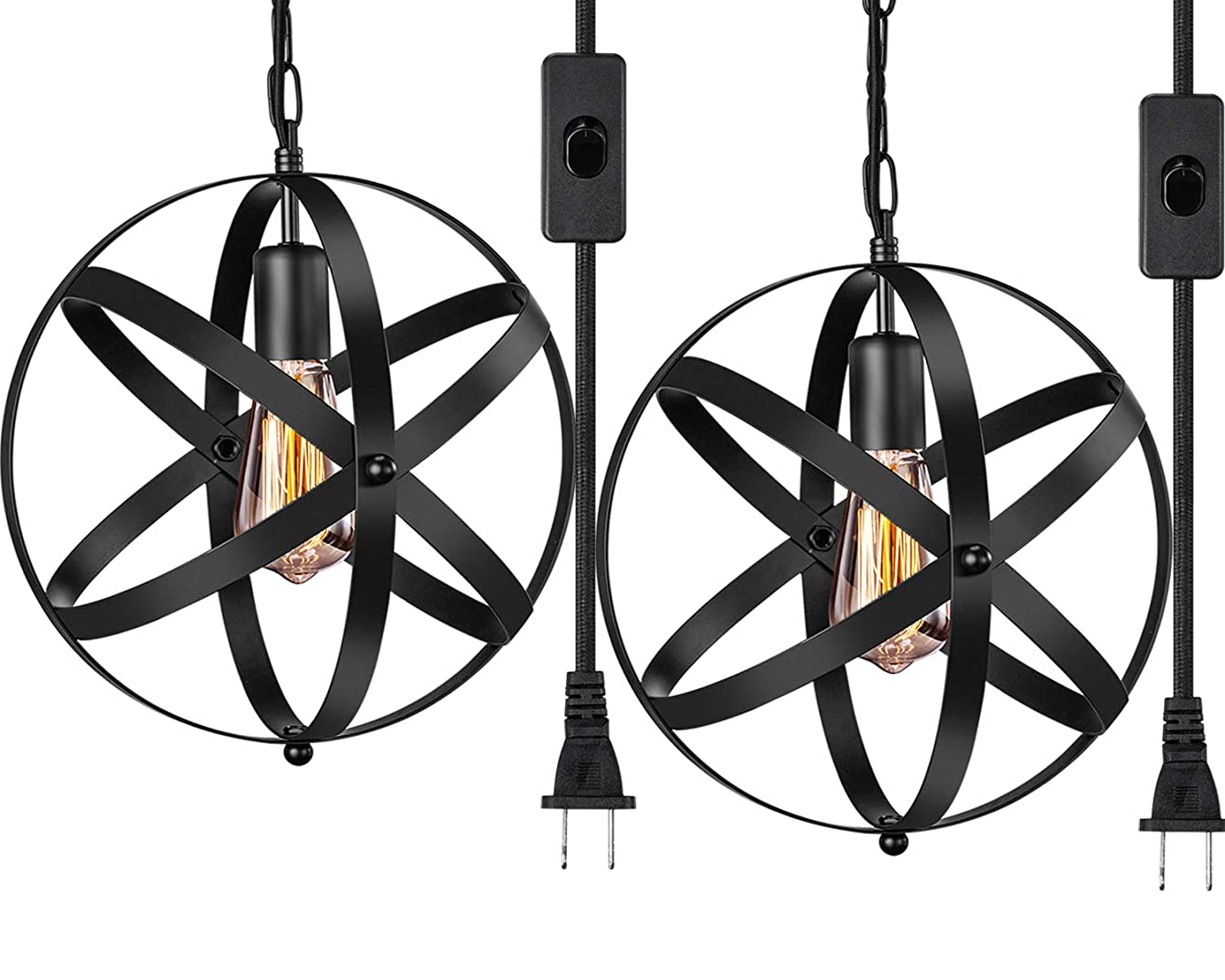 Industrial Plug in Pendant Light INNOCCY E26 E27 Industrial Hanging Light Metal Globe Vintage Pendant Light Fixture with 14.8Ft Hanging Cord and ON/OFF Switch 2 Pack