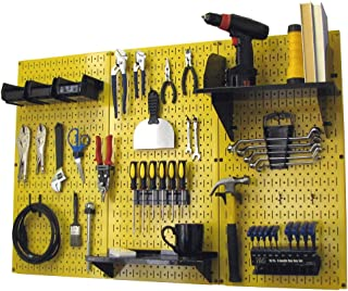 Wall Control 4 ft Metal Pegboard Standard Tool Storage Kit with Yellow Toolboard and Black Accessories