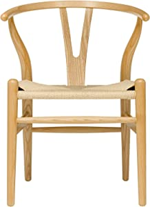 Hans Wegner Wishbone Style Woven Seat Chair (Ash with Natural Cord)