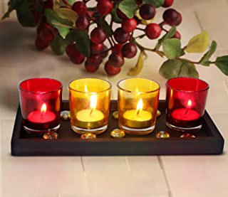 Tied Ribbons Home Decor Candle Holders Set for Bathroom Candle Holder Centerpieces for Dining Table Living Room (Large Tra...