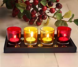 TiedRibbons Tealight Glass Holder Set of 4 (Multicolor, Glass) with Wooden Tray and T Light Candle for Diwali Home Décor