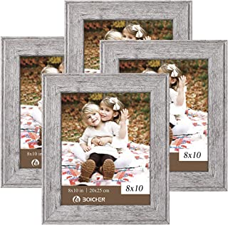 BOICHEN 8x10 Picture Frames Display for Tabletop Display Wall Mount Rustic Wood Pattern High Definition Glass Photo Frame Grey Wood 4 Pack