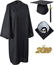 GraduationService Unisex Matte Graduation Gown Cap with 2019 Tassel Included Package