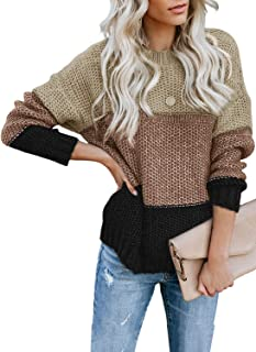 Womens Color Block High Neck Ribbed Knit Oversized...