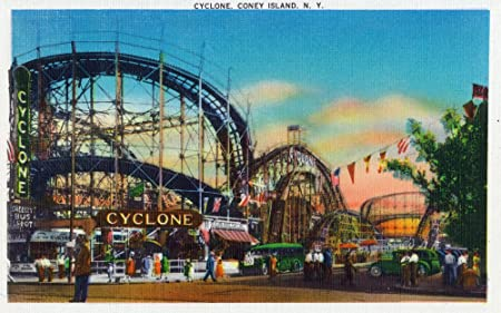 Amazon Com Coney Island New York View Of The Cyclone Rollercoaster 1 Vintage Halftone 9x12 Art Print Wall Decor Travel Poster Posters Prints