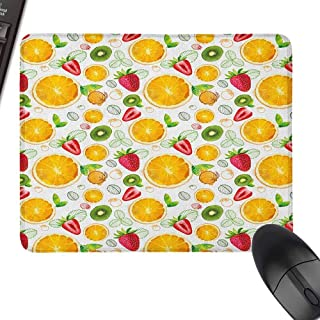 Patterned Mouse Pad Fruits Citrus Kiwi Lemon Leaves Apricot Watermelon Fresh Exotic Kitchen Waterproof and Smooth,15.7