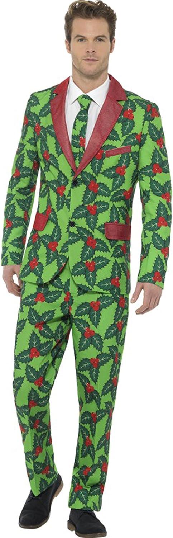 Zauberclown magic Clown Christmas Fancy Dress Men's Suit with Mistletoe Print Tie, L, green