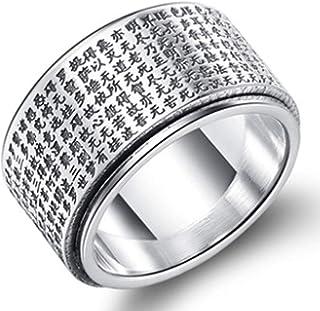 XIRENZHANG Anello da uomo in argento Sterling puro argento Sterling con indici da dito, cuore di Sutra Transfer Anello Tha...