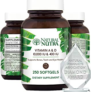 Natural Nutra Vitamin A and D, Sourced from Cod Liver Oil, 10,000IU/400IU, Healthy Bones Supplement, Promotes Strong Teeth...
