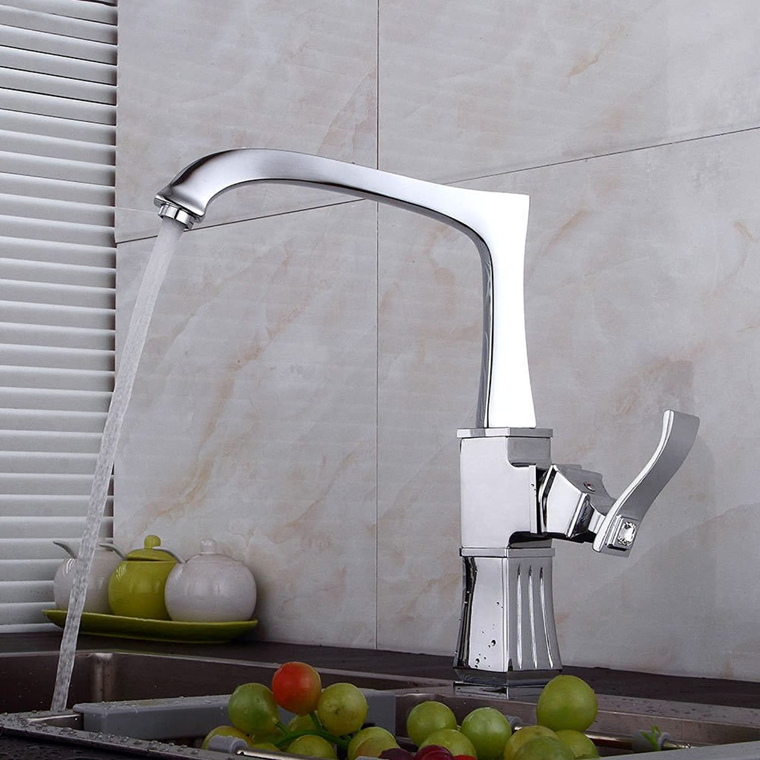 Bijjaladeva Antique Kitchen Sink Mixer Tap The Copper Kitchen Faucet Antique Mixing of hot and Cold Water Valve Brushed Faucet Black Square 360° Swivel Single Handle fauc