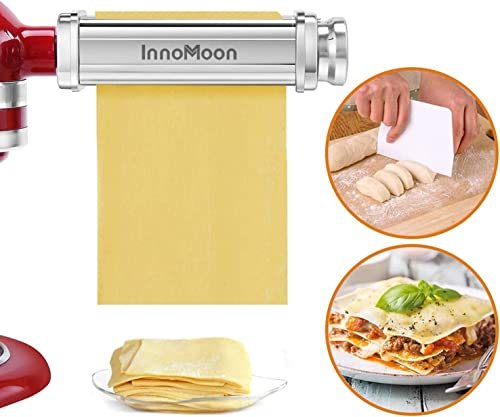 Pasta Roller Attachment for KitchenAid Stand Mixers, Stainless Steel Pasta Sheet Maker Accessory plus Dough Scraper a...