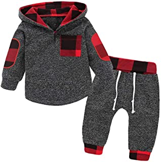 Simplee kids Baby Boys and Girls Winter Fall Plaid Hoodie and Pants Clothes Set
